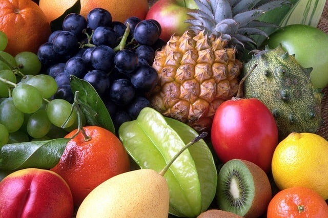 The picture of a fruit. Mangos, grapes, bananas, apples, kiwis, etc.