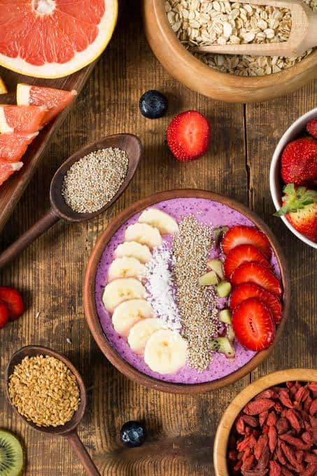 Healthy smoothie bowl with toppings