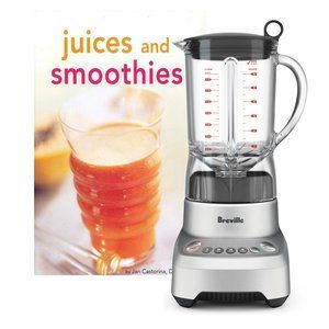 The picture ofBreville Hemisphere Smooth Blender. There is a glass with an orange smoothie next to it.