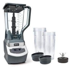 The picture ofNinja Professional Blender and Nutri Ninja Cups standing on the right side of the blender.
